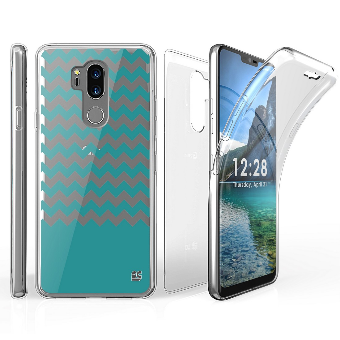 Tri Max LG G7 ThinQ Case with Ultra Slim 360 Degree Full Body Protection Cover with Self-Healing Flexible Gel Clear Screen Protector and Atom Cloth for LG G7 ThinQ - Teal Chevron