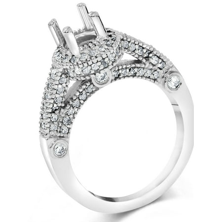 3/4ct Vintage Halo Ring Setting 14K White Gold