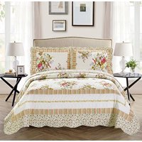 Fancy Linen 2pc Twin/Twin Extra Long Over Size Bedspread Floral Off White Green Purple Pink New # Catchd