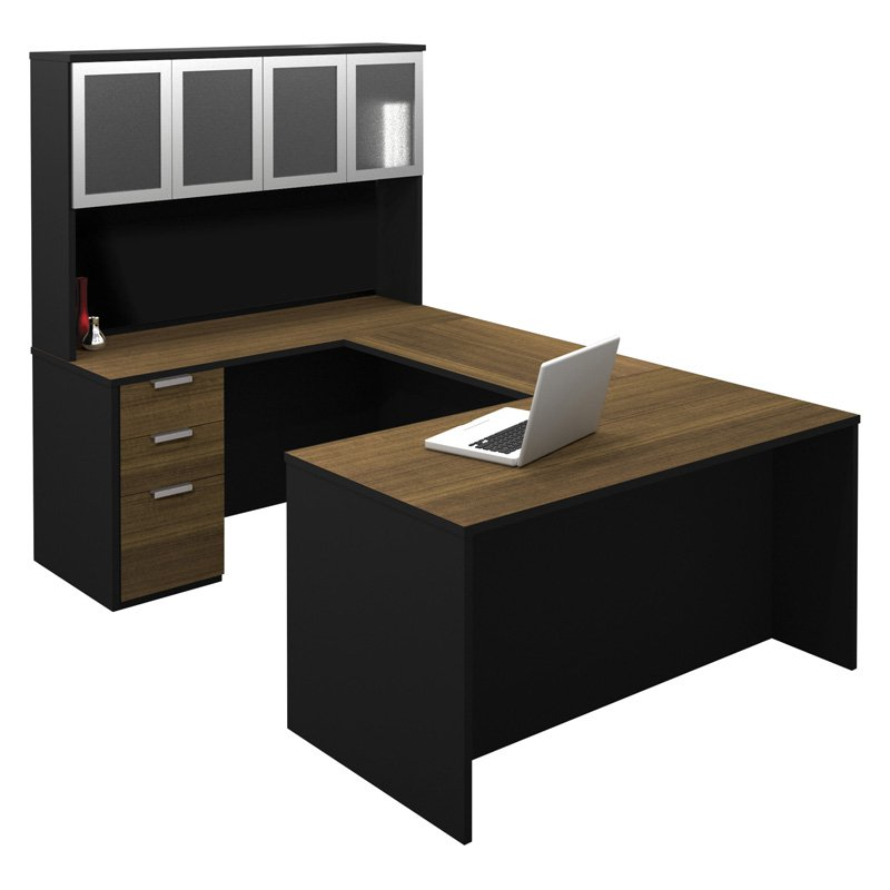 Bestar Pro-Concept U-Shaped Workstation with High Hutch - Milk Chocolate Bamboo and Black