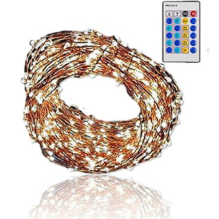 qualizzi starry lights with remote control/dimmable (80 feet/480 leds). very pretty bright fairy light effects on led copper wire string lightings. enjoy magic decorative garlands all year around