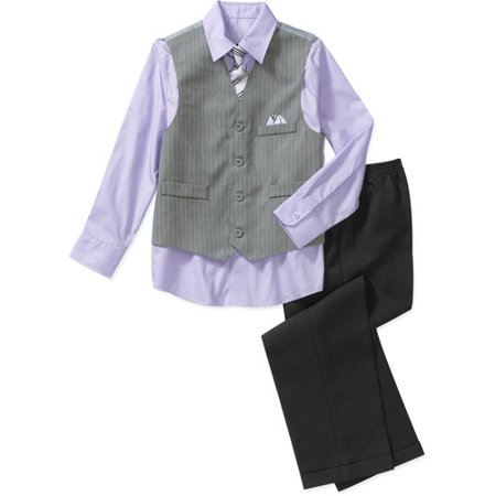 The shirt is designed with long sleeves and a patch pocket at the front, while the striped waistcoat is finished with slit pockets. Boys multicoloured shirt and waistcoat set Long sleeves5/5(1).