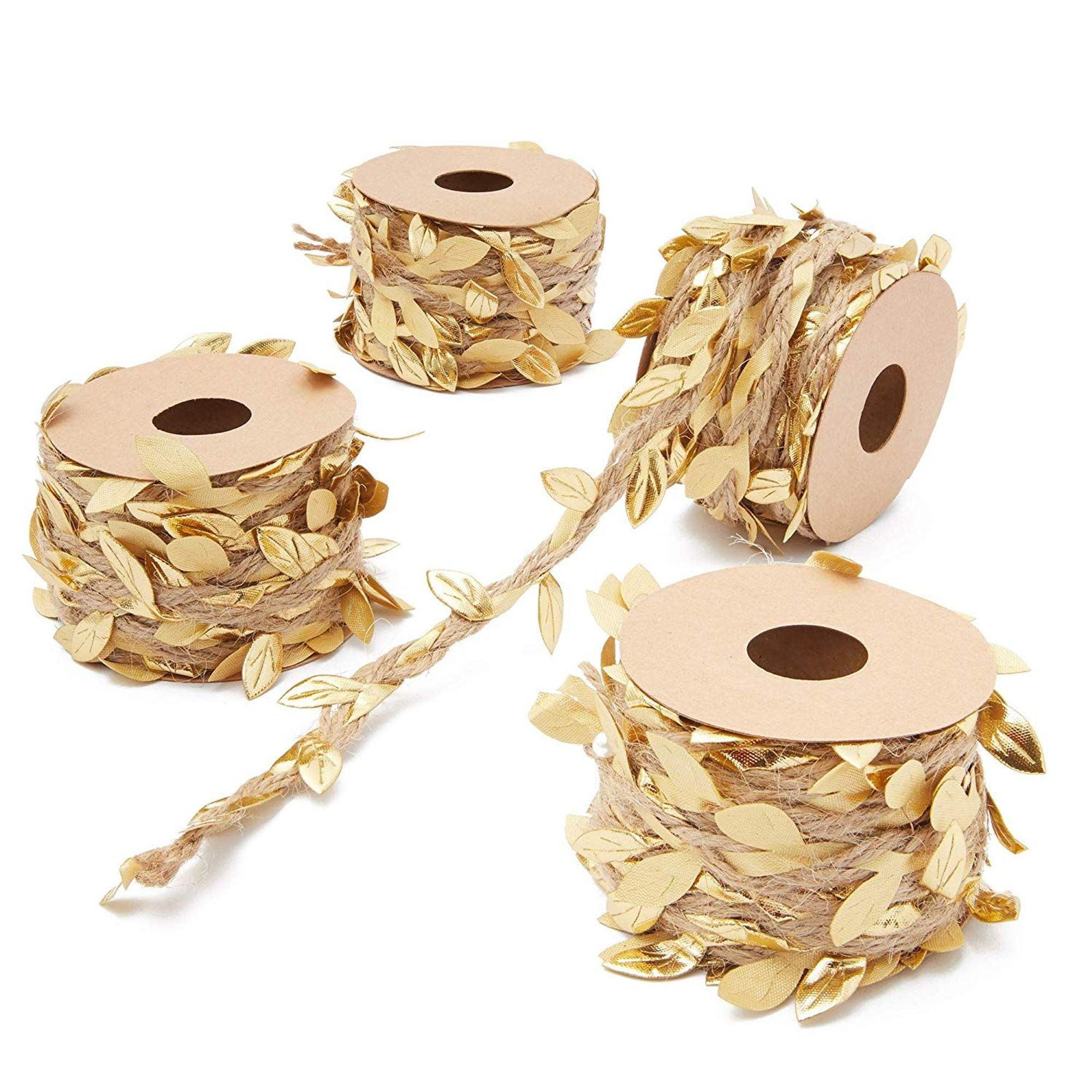 4 Rolls Jute Burlap Vine Twine Artificial Fake Gold Leaf Leaves Garland For Wedding Bridal Shower Party Garden Home Decoration Diy Crafts And Gift Wreaths Wrapping Metallic Gold Walmart Com Walmart Com