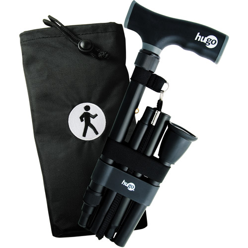Hugo Elite Adjustable Folding Cane with Interchangeable Handle, Black