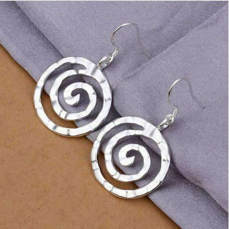 Square Spiral Earrings (ON SALE - Hammered Spiral Sterling Silver Hook Earrings Silver )