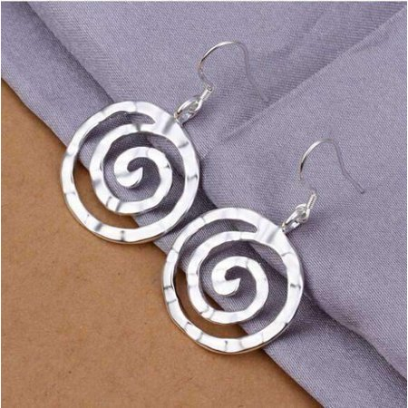 Sterling Silver Hammered Circle Earrings - ON SALE - Hammered Spiral Sterling Silver Hook Earrings Silver