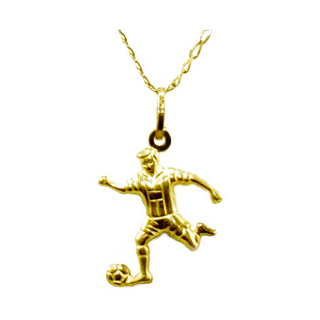 14K Yellow Gold Football/Soccer Player Pendant Necklace