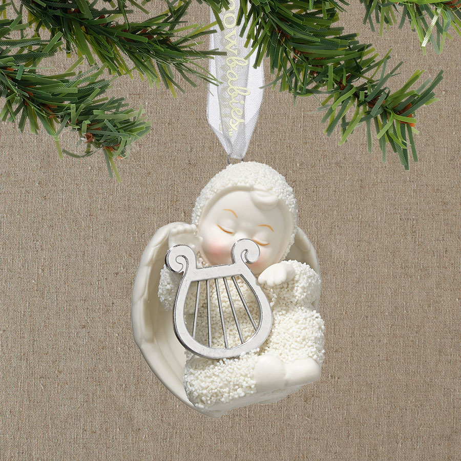 Snowbabies Heavenly Music Baby with Harp Christmas Ornament 4038101