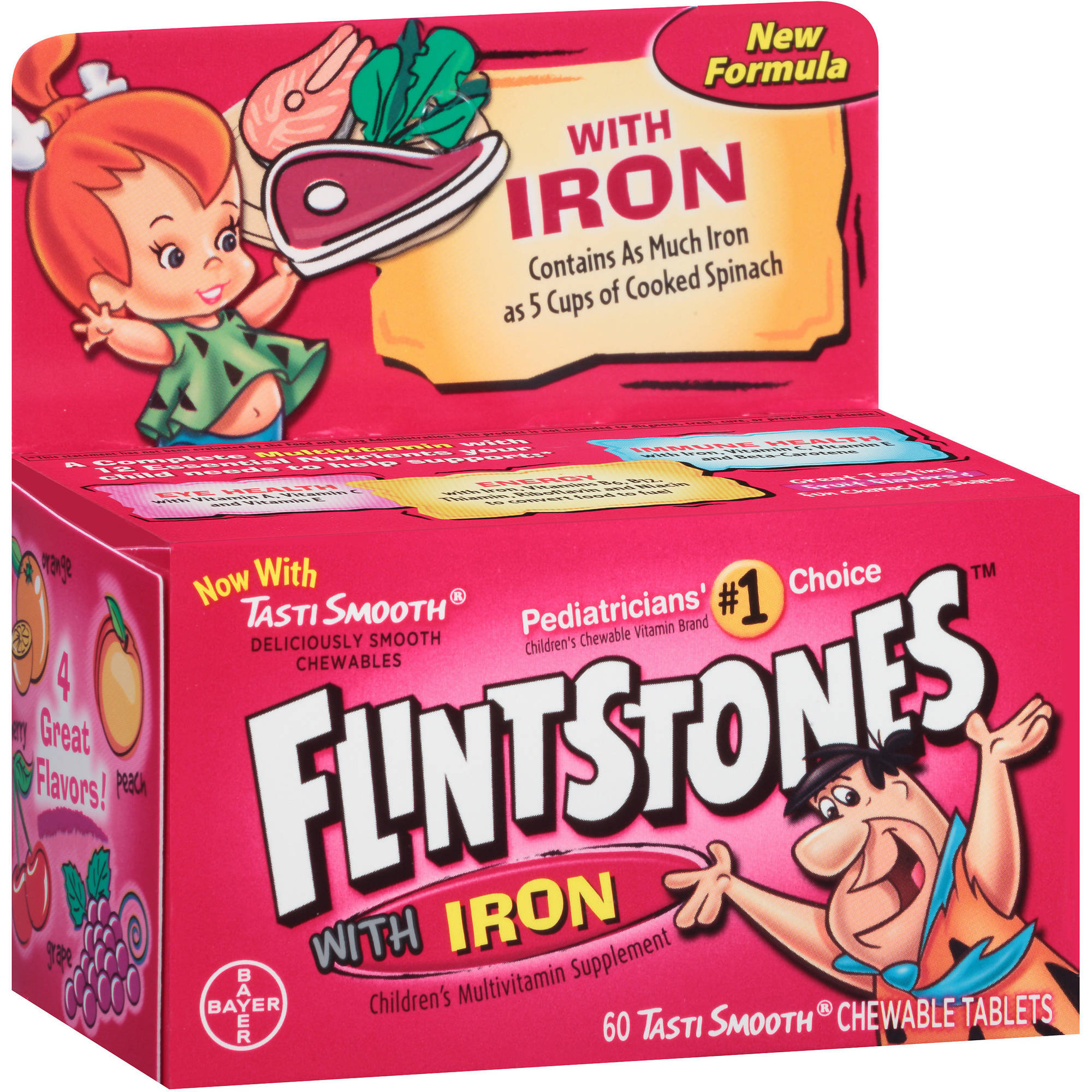 Flintstones Multi Vitamin with Iron, Chewable, 60 CT (Pack of 3)