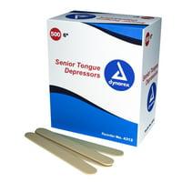"""Dynarex 4312 Tongue Depressor, 6"""" Wood, Non-Sterile, (500 Per Box - 4 Boxes) MS85510"""