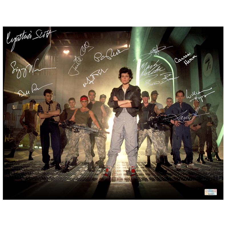 Aliens Cast Autographed 11?14 Locked and Loaded Photo