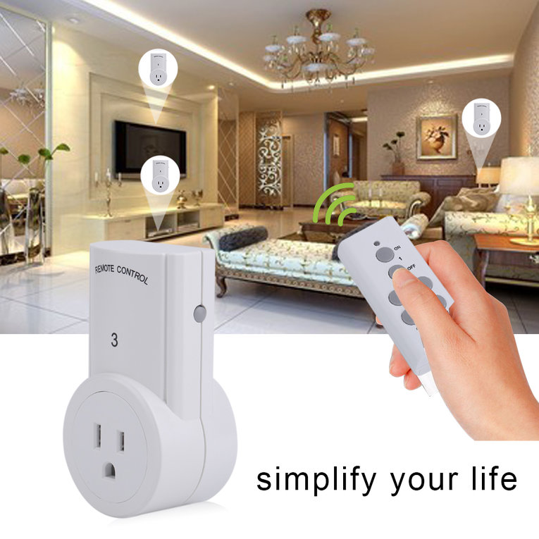 2 Pcs Remote Control With 3 Pcs Smart Wireless Power Outlets Light Switch Socket