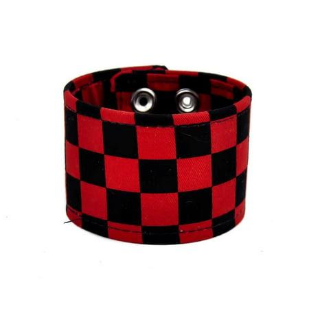 Fabric Jewelry - Black & Red Checkered Canvas Fabric Wristband Bracelet Cuff Vegan Friendly 2