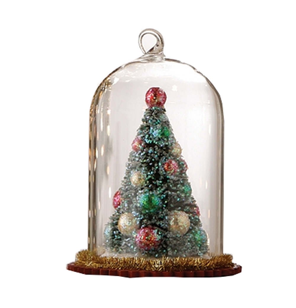 RAZ Imports Christmas Tree Bell Jar Tree Ornament, 4.5 inches