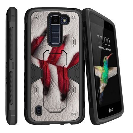 LG K7 | LG Tribute 5 Dual Layer Shock Resistant MAX DEFENSE Heavy Duty Case with Built In Kickstand - Baseball Stitching - Baseball Stitching