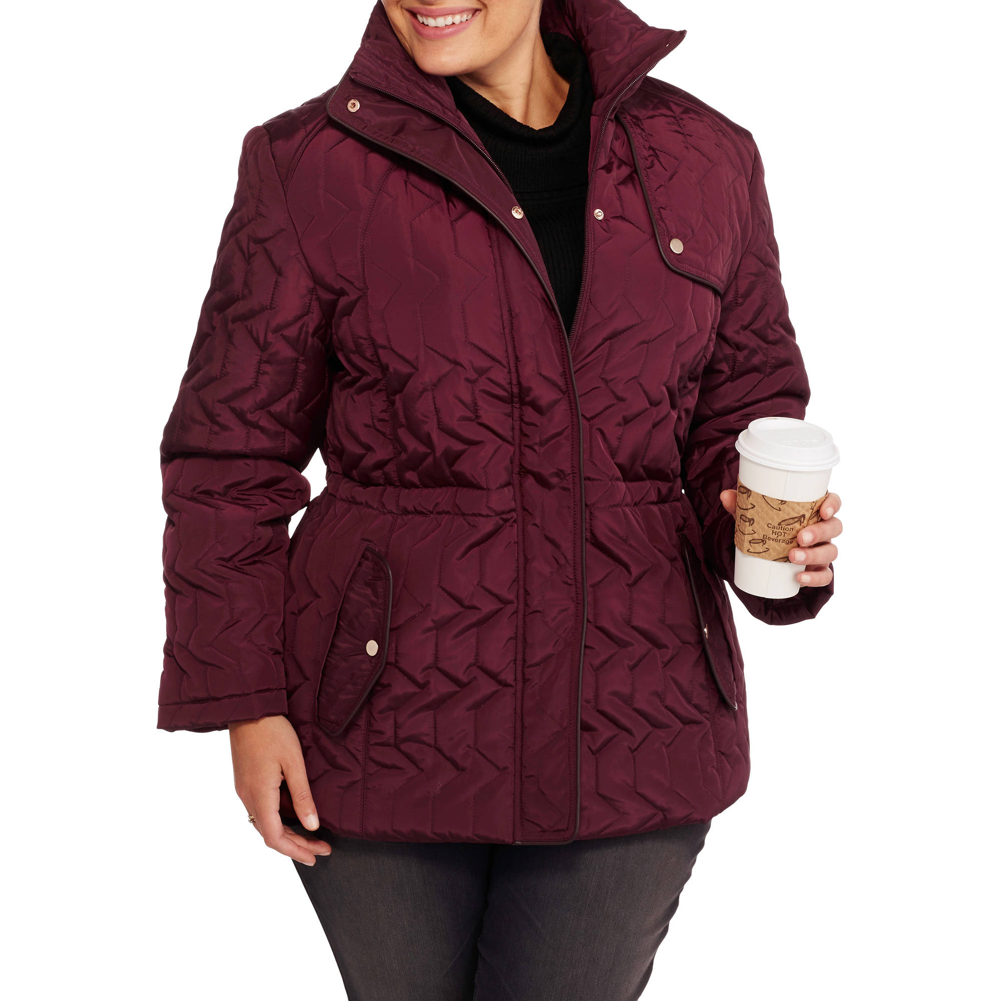 Women's Plus-Size Midweight Jacket with Flattering Side Cinching