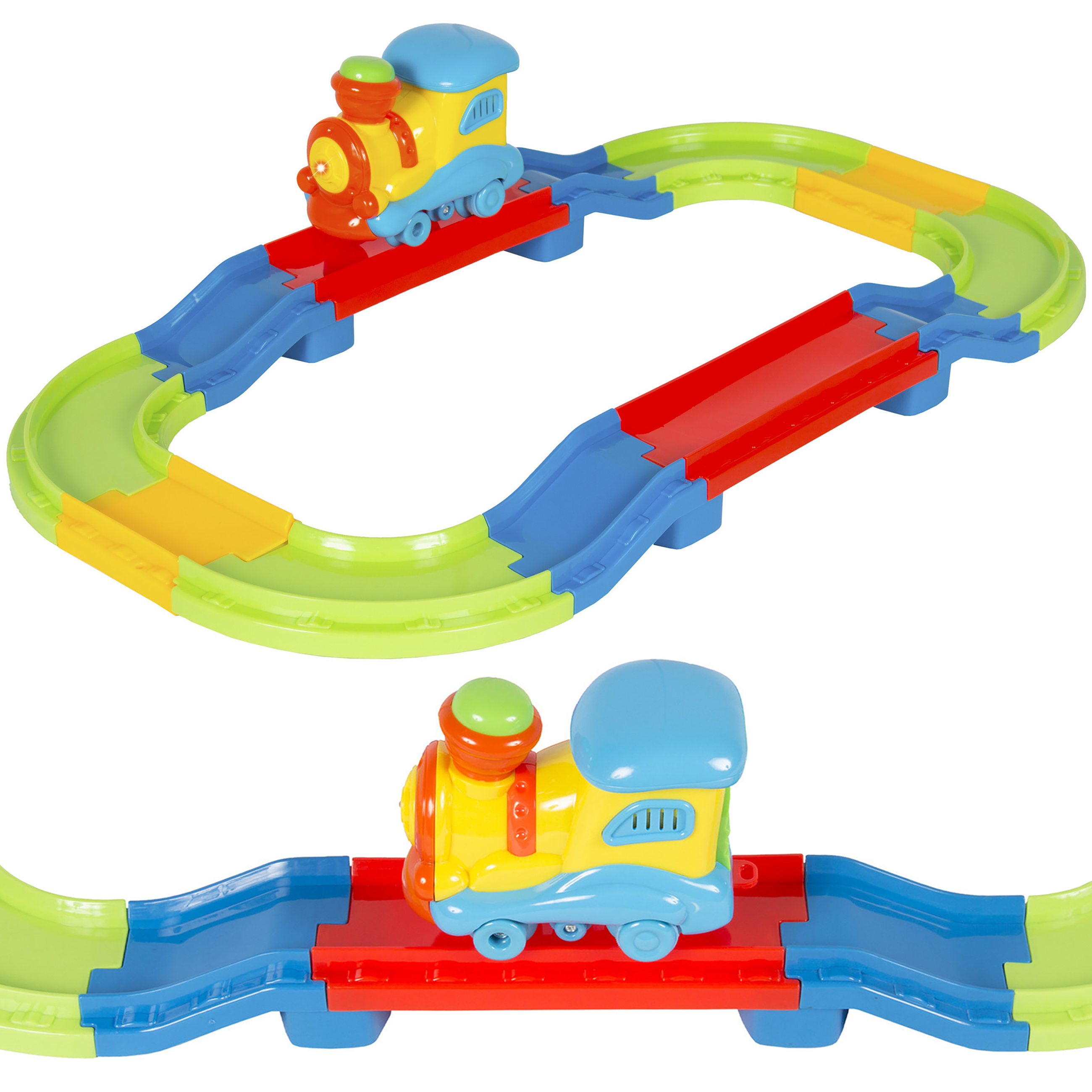 Kids Toy Beginners Electric Train Set With Lights and Sound Colorful Tracks Battery Operated Railway Car Set