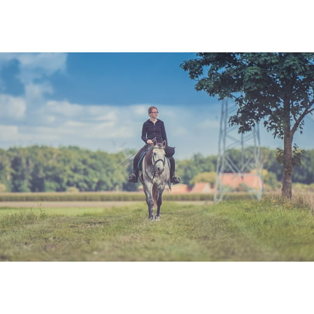 10 Equestrian Girl (LAMINATED POSTER Grass Girl Field Adult Equestrian Animal Daylight Poster Print 24 x 36 )