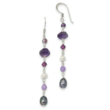 Lavender Jade And Pearl (925 Sterling Silver FW Cultured Pearl Grey-White, Amy and Lavender Jade Shepherd Hook Earrings )