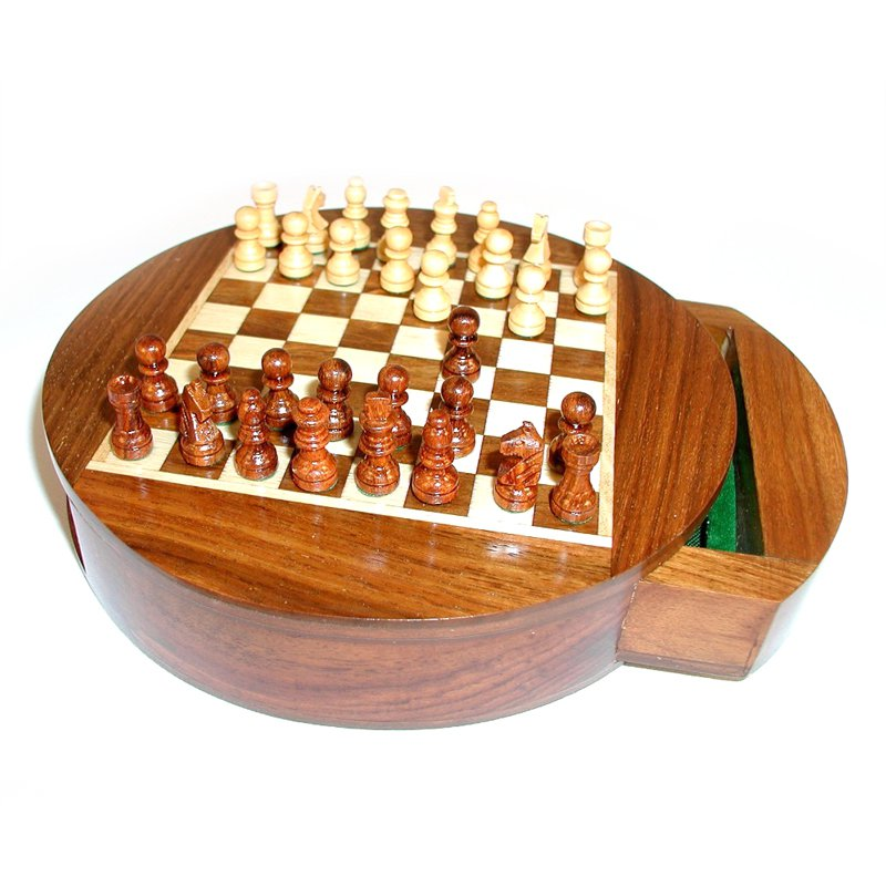 Magnetic Moon Drawer Round Chess Set by World Wise Imports