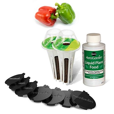 AeroGarden Sweet Bell Peppers Seed Pod Kit (2 pre-seeded Sweet Bell Pepper pods and 7 Plant Spacers) (Aerogarden Pepper)