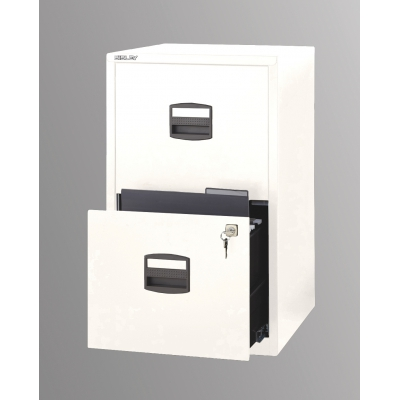 Bisley Two Drawer Steel Home Filing Cabinet, White BDSFILE2WH by