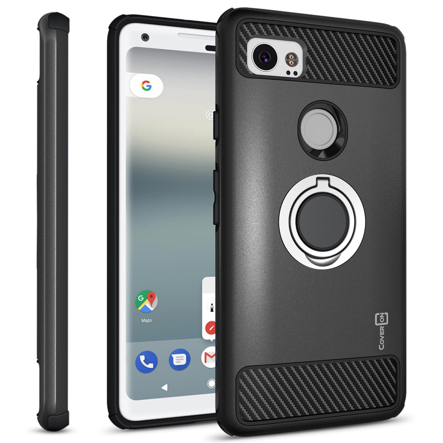 CoverON Google Pixel 2 XL / 2XL Case with Ring Holder, RingCase Series Hybrid Protective Dua Layer Phone Cover