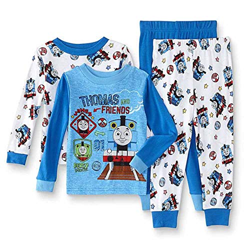 Thomas & Friends Baby Toddler Train Boys 4-Piece Cotton Pajama Set, Steam Team, 3T