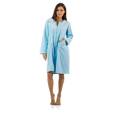 Casual Nights Women's Long Sleeve Zip Up Front Short Fleece Robe (Flannel Robe Women Zipper)