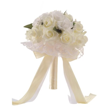 Tuscom Crystal Roses Bridesmaid Wedding Bouquet Bridal Artificial Silk