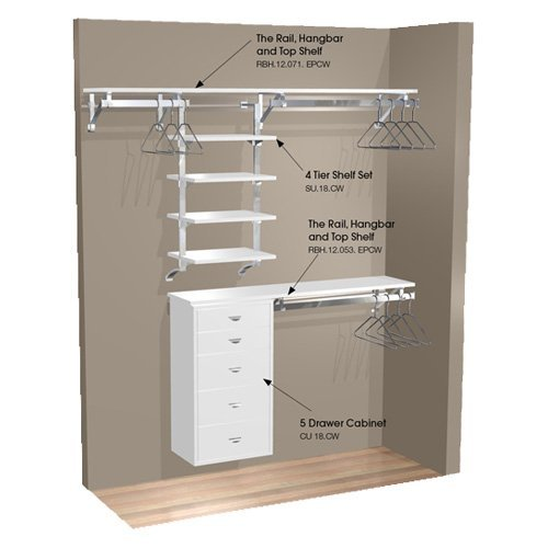 Arrange A Space 71 in. Double and Long Hang Wall Closet with 4 Shelves and Cabinet