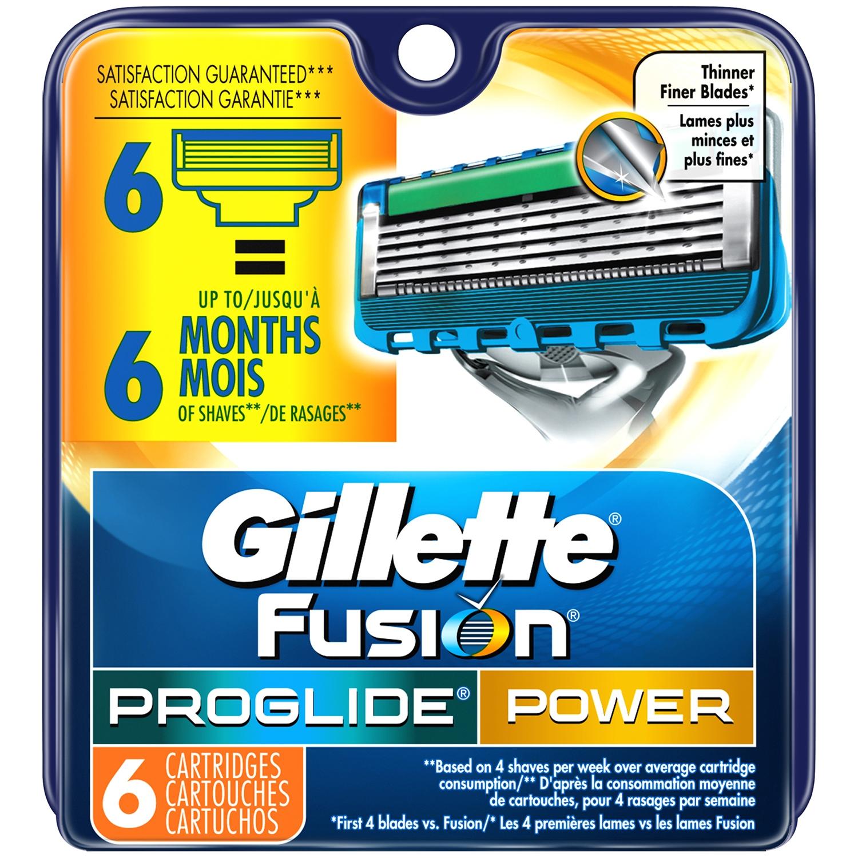 Gillette® Fusion® ProGlide® Power Razor Cartridges 6 ct Carded Pack