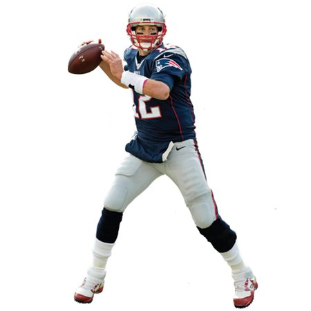 Tom Brady New England Patriots Fathead Life Size Removable Wall Decal - No (New England Patriots Wall Border)