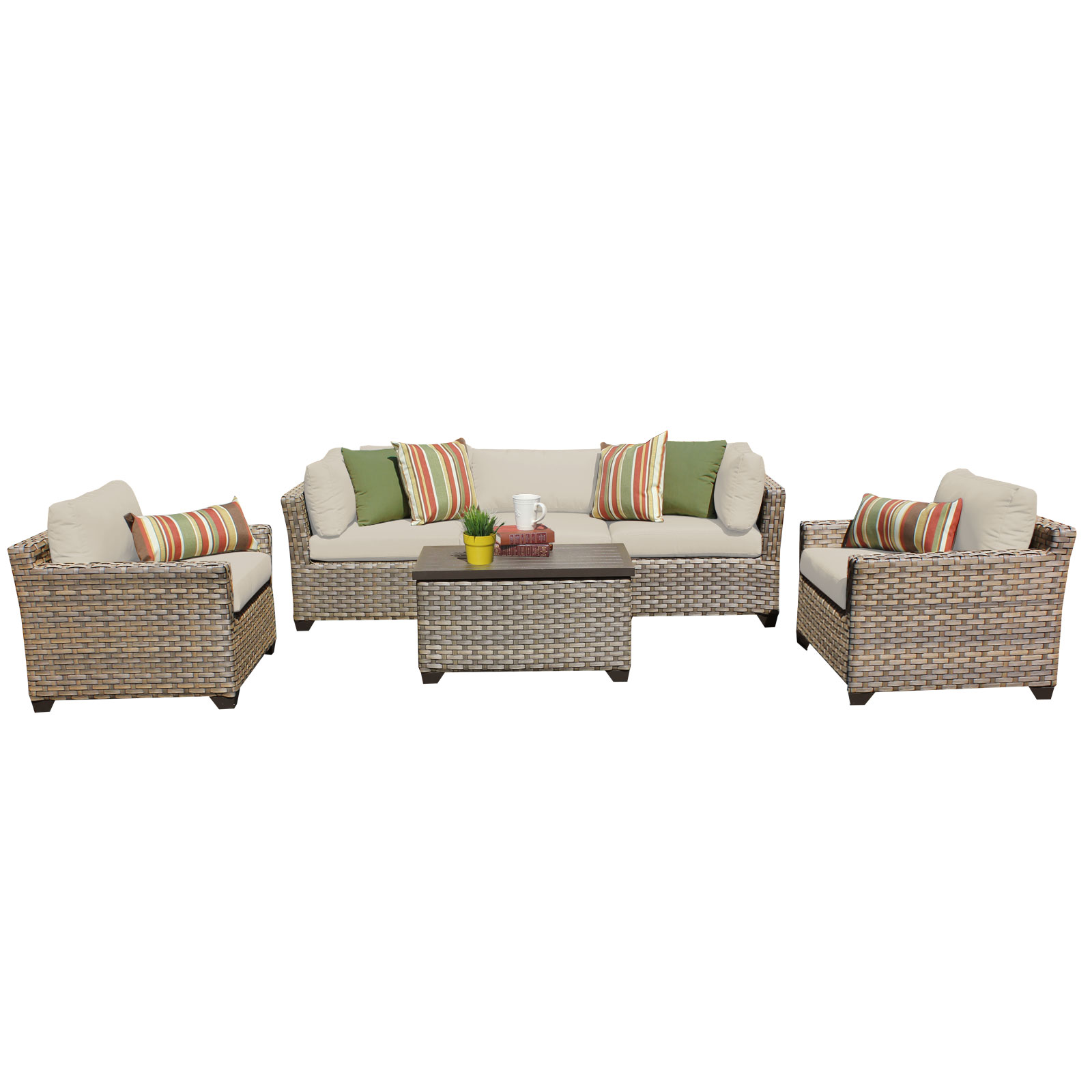 Hampton 6 Piece Outdoor Wicker Patio Furniture Set 06b by TK Classics