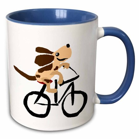 3dRose Funny Basset Hound Puppy Dog Riding Bicycle - Two Tone Blue Mug, 11-ounce