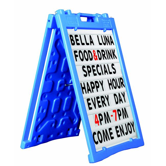 Aarco PAF-5BL Universal Sidewalk A-Frame Sign Holder with Deluxe White Changeable Letter Board, Blue