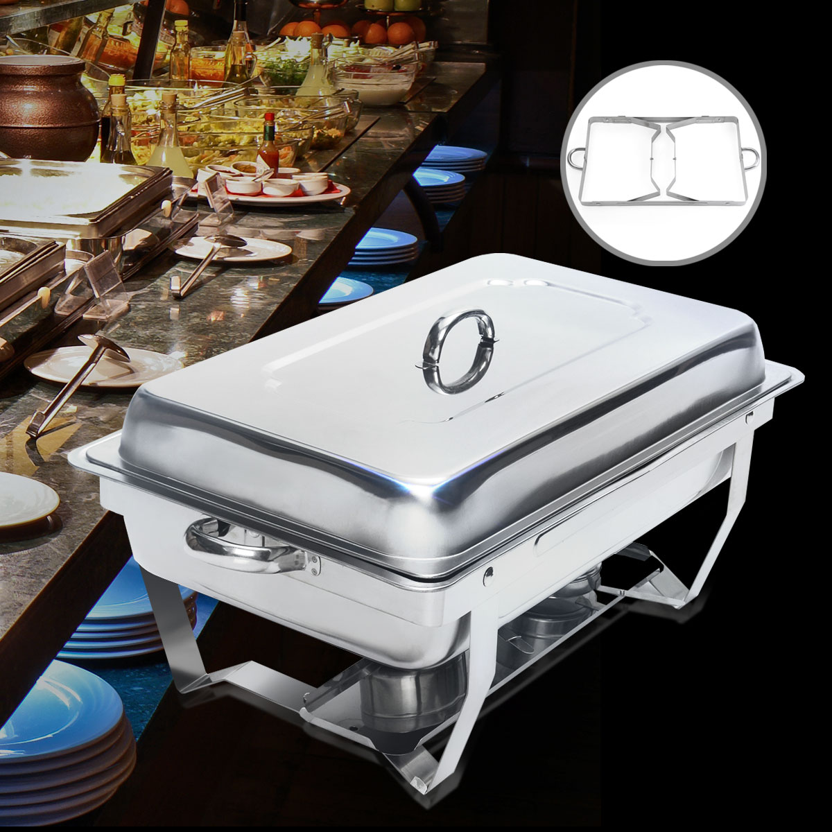 New 9 Quart Stainless Steel Rectangular Chafing Dish Full Size Buffet Chafer Catering Serving Set Easy to Clean Keep warm