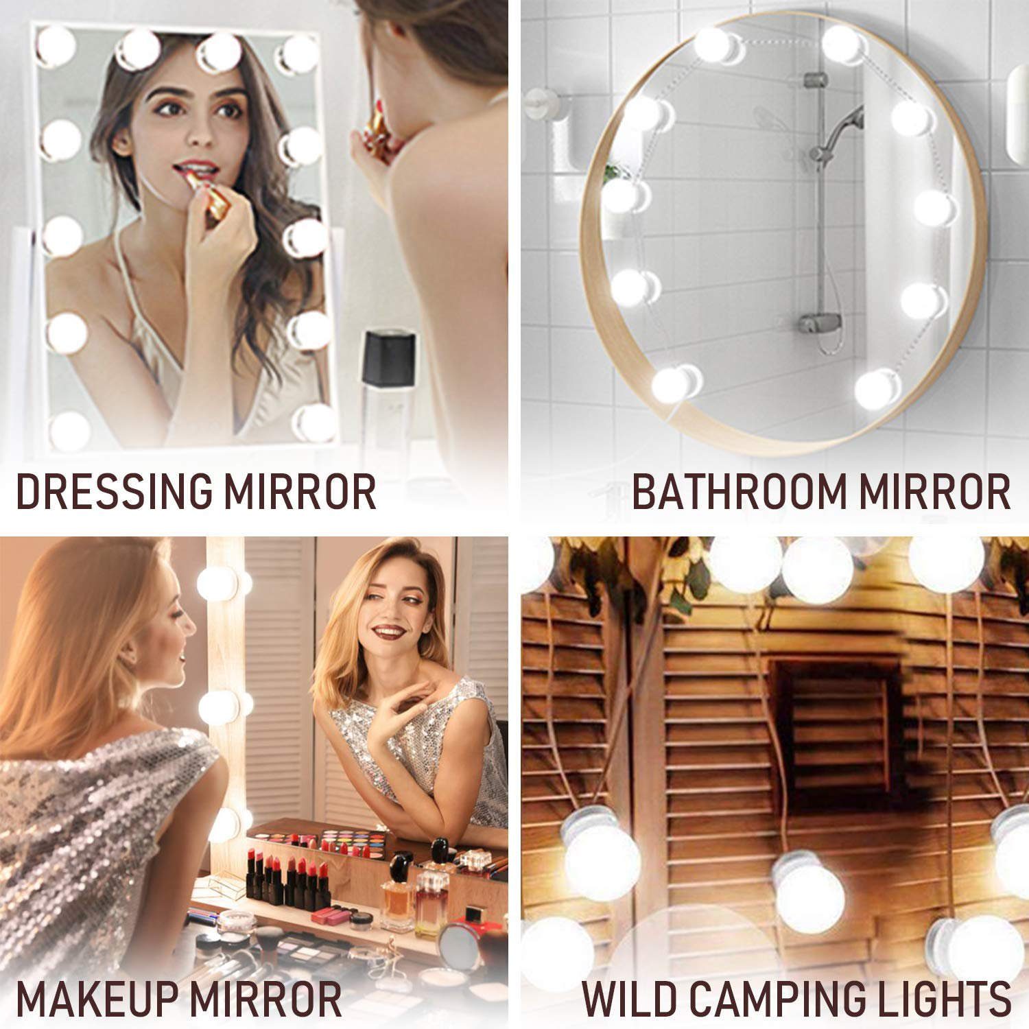 3 Dimmable Color With 10 Led Light Bulbs For Vanity Table Set And Bathroom Mirror Hollywood Style Lighting Fixture Strip With Usb Charging Cable 3 Dimmable Color Mirror Not Include Walmart Com Walmart Com