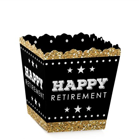 Happy Retirement - Party Mini Favor Boxes - Retirement or Going Away Party Treat Candy Boxes - Set of 12
