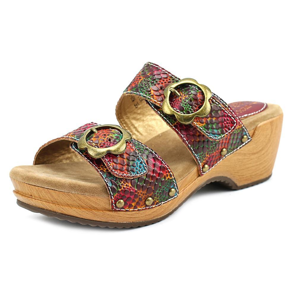 L'Artiste by Spring Step Mittie Women Open Toe Leather Slides Sandal by L'Artiste by Spring Step