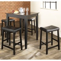 Furniture 5-Piece Pub Dining Set with Tapered Leg and Upholstered Saddle Stools