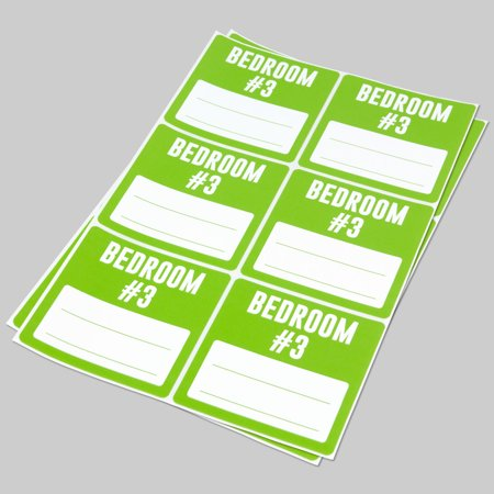 - Bedroom #3 Stickers (3 x 3 inch, 6 Labels per Sheet, 100 Sheets, Green Apple, 600 Labels) for Moving, Bedroom #3 or Home Organization