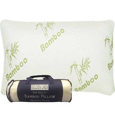 Bamboo Pillow Memory Foam - Stay Cool Removable Cover with Zipper - Hotel Quality Hypoallergenic Pillow Relieves Snoring,migraines, Insomnia, Neck Pain and Tmj, Also Help with Asthema (Queen) (Cool Bamboo)