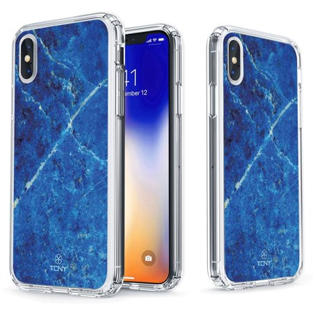 iPhone X Marble Case - True Color Clear-Shield Blue Lapis Lazuli Printed on Clear Back - Perfect Soft and Hard Thin Shock Absorbing Dustproof Full Protection Bumper Cover - Lapis Blue Color