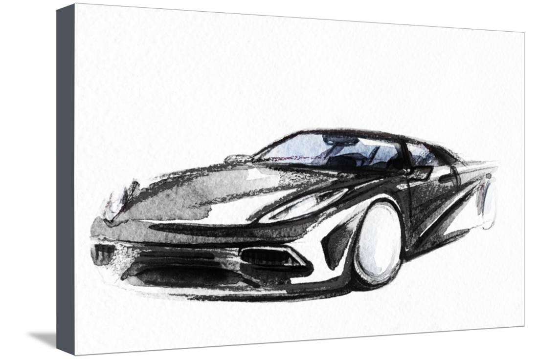 Car art sketch sport car pencil drawing stretched canvas print wall art by anna ismagilova walmart com