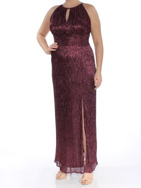 c520fe54a9a1 Product Image R&M RICHARDS Womens Burgundy Halter Gown Metallic Keyhole  Full-Length Evening Dress Size: 14