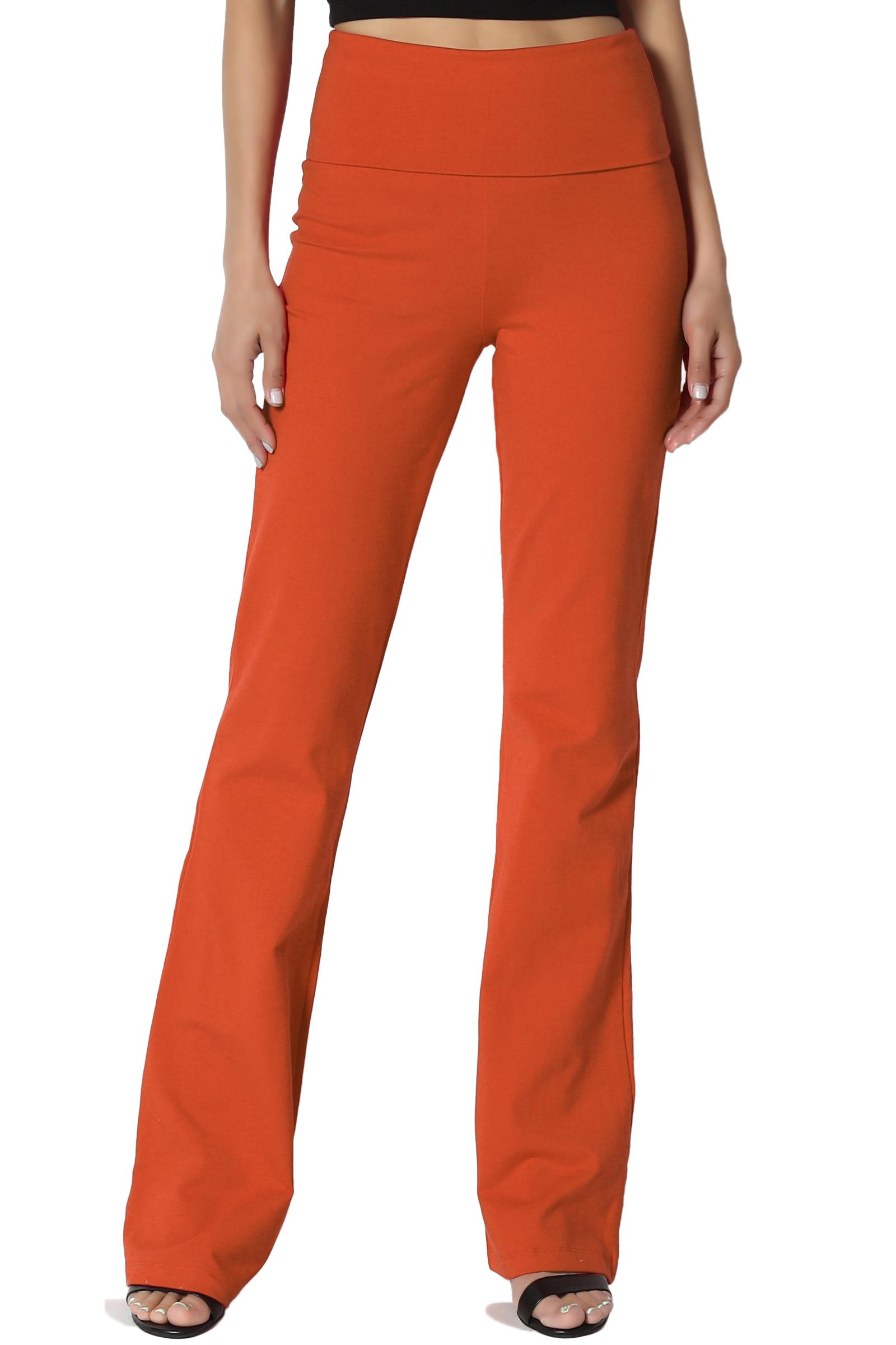 TheMogan Women's S~3X Thick Stretch Cotton Foldover Waist Bootcut Yoga Pants