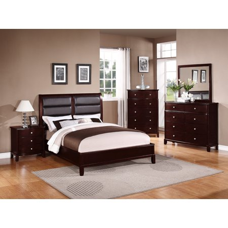 Beautiful Multi-Dimensional Queen Size bed Frame w Matching Dresser Mirror Nightstand Medium Cherry Finish 4pc Set Black Faux Leather HB