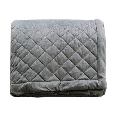 All Season 100% New Zealand Wool Fill Throw Blanket 200 GSM Fill Weight Crystal Velvet Fabric Baffle Box Construction, Grey ()