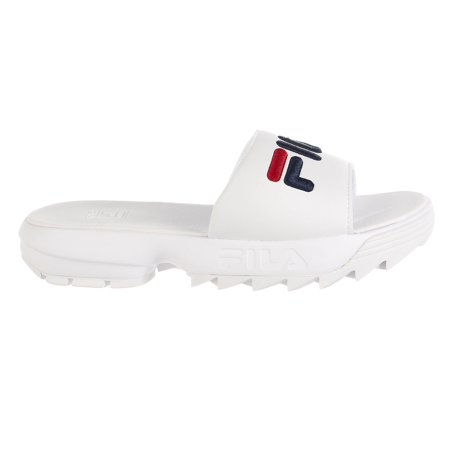 Fila Disruptor Bold Slides - White/Navy/Red - Womens - 9